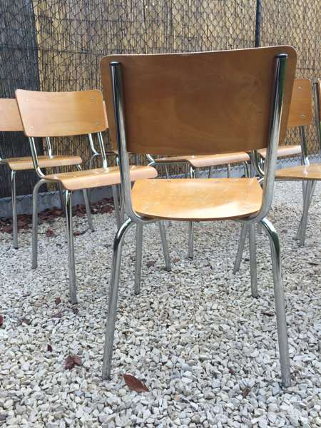 Stapel Kantine Stoelen.Mooie Kantine Stoelen Met Chrome Frame The Good Stuff Factory