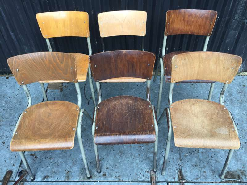 6 Cafe Stoelen.Mixed Set Van 6 Industriele Stoelen The Good Stuff Factory