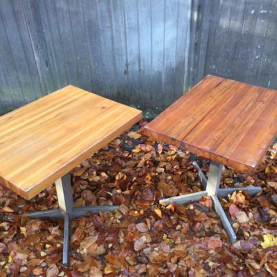 HOUTEN tafel centrale poot horeca barista brasserie koffiebar vintage retro GoodStuffFactory