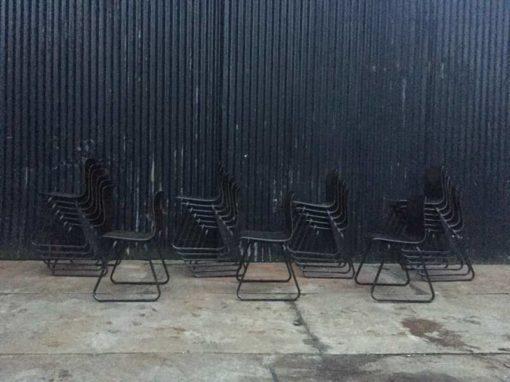 Галванитас СКСНУМКС смеђи метални оквир индустријска винтаге ретро столица цхаисе_ГоодСтуффФацтори