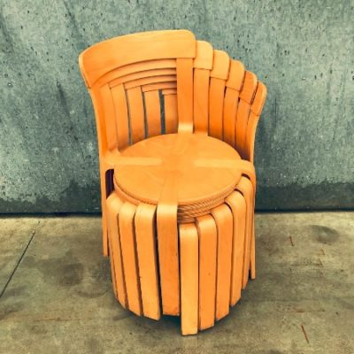 Bruno Rey Dietiker vintage houten ronde stoel horeca seventies_thegoodstufffactory_be