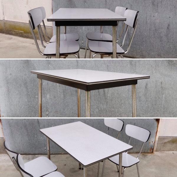 Design Stoelen Fabriek.Kantinesets In Formica Uit Oude Fabriek 4 Op Voorraad Setprijs Voor 1 Tafel En 4 Stoelen