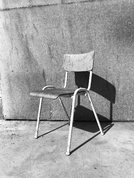 white industrial chair canteen_thegoodstuffactory_be