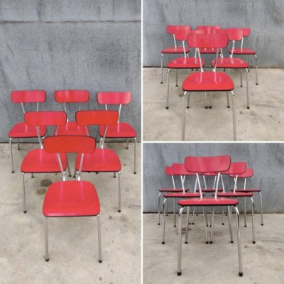 RED RED FORMICA CHAIR CHAISE vintage retro interior chair chaise_ ang magandang gamit sa pabrika_Be