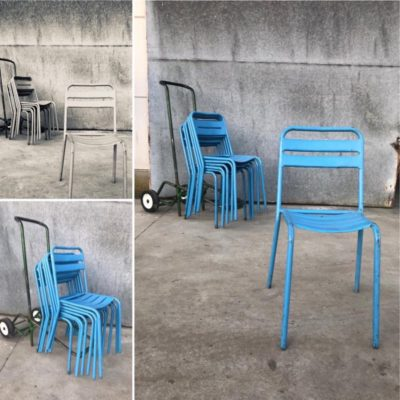 terrasstoelen horeca terrace terrasjesweer exterieur buiten blauw metaal stoelen inrichting_thegoodstufffactory_be
