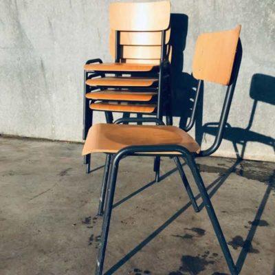 BLAUW GRIJZE set vintage retro stoel stolar kinderstoel chaise enfant école_thegoodstufffactory_be
