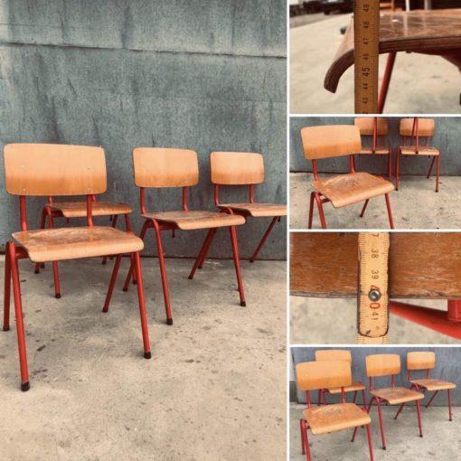 RED canteen chair chaise café horeca resto kantine bar barista bistro koffiebar retro vintage ostalgie industrial antiques_thegoodstufffactory_be